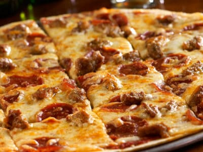 Build your own pizza with pepperoni and sausage