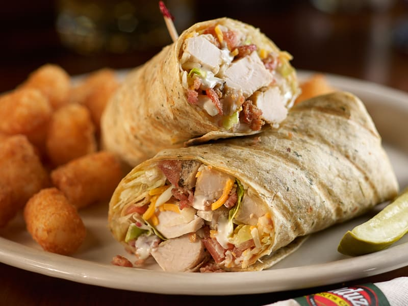 Chicken ranch wrap with tots