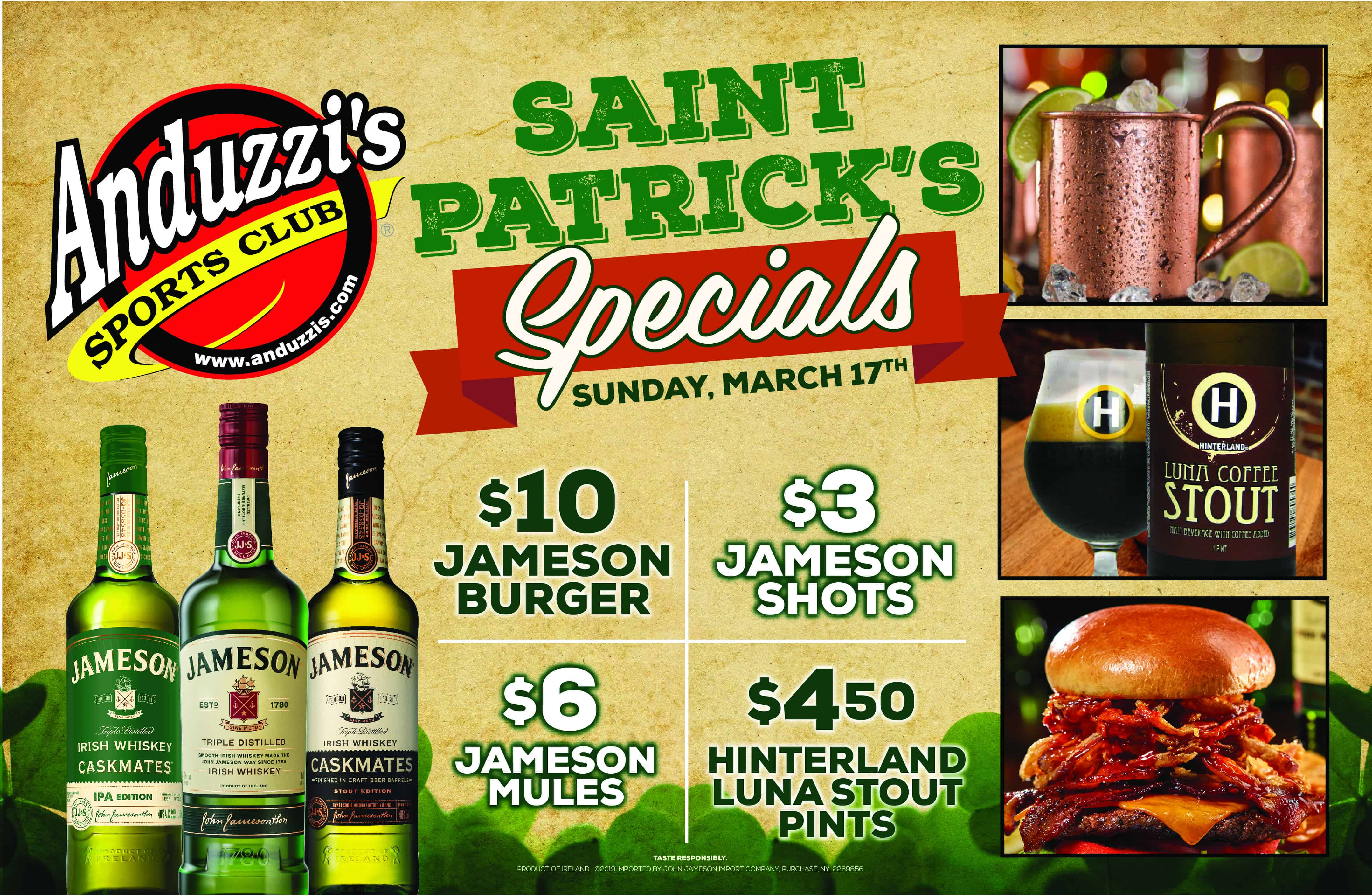 St. Patricks Specials Poster - St. Patrick's Day at Anduzzi's!